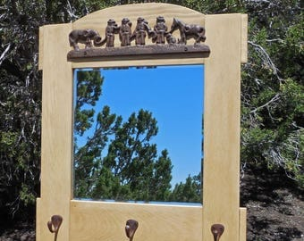Handmade Pine Wall Mirror with Cowboy Cast Iron Sculpture and Hat Hooks