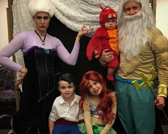 Little Mermaid Family Costume Set, Halloween party group children adults costume Disney movie themed them funny fun creative idea kit diy