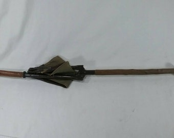 Vintage military officer's shooting stick cane folding seat leather and wood marked prazision ww1