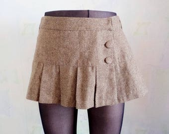 Vintage '90s Mini Skirt, Pleated Beige Brown Gold Mini Skirt, Love TRT XX Mini Skirt, Low Waist Skirt, For Her