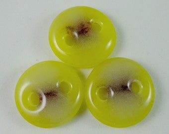 Art glass sewing buttons, yellow and maroon, knitting button, fastener, needlecraft supply