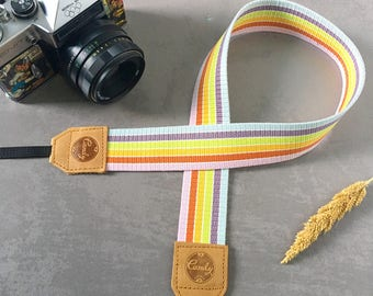 Rainbow DSLR camera strap #3 ,Rainbow Camera Strap, leather camera Strap