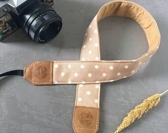 Polka Dot  DSLR camera strap,Beige Pastel PolkaDot  Camera Strap, leather camera Strap ,Gife for Her