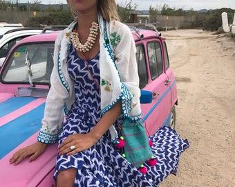 white  hippie chic cotton jacket from Ibiza