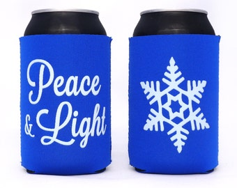 SALE // Peace and Light Hanukkah Can Cooler // Royal Blue // Holiday Party Favor