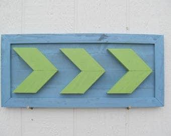 Arrow Chevron Wall Art ~ Wood Painted In Pastel Blue & Green