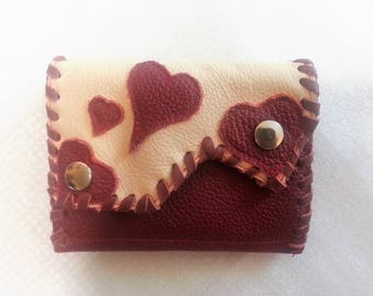 purse,wallet,portemonnaie,leather,red,beige,heart,red heart,love,great purse,handmade purse,leather wallet,leather portemonnaie,pushbuttons