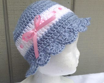 Baby girl hat - 3 to 9 months - Crochet baby beanie - Baby sun hat - Infant blue hat