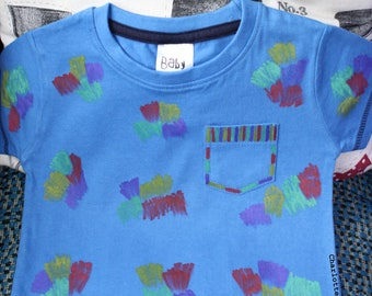 Hand drawn blue crayon scribble pocket detail cotton t-shirt age 12-18 months baby boy's clothes