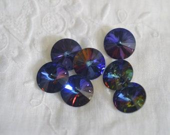 "2 ~ 14MM 1122 ~ Meridian Blue ""Limited Production""  ~ Swarovski Crystal 1122 Rivolis"