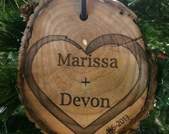 Engraved Wooden Christmas Ornament