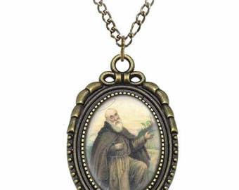 St Conrad of Piacenza Catholic Necklace Bronze Medal w Chain Oval Pendant Saint Vintage