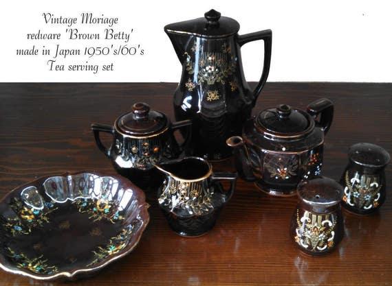 Vintage moriage redware brown betty gold trim floral pattern 9 piece two tea pots cream pitcher sugar bowl salt pepper shaker cookie dish