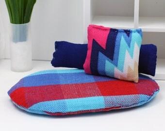 3 Pillow Set - Miniature Modern decor - Reds + Blues