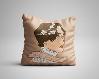 Sweet Creature Faux Suede Linen Harry Styles One Direction Illustration Drawing Art Portrait Peach Banner Flower Crown