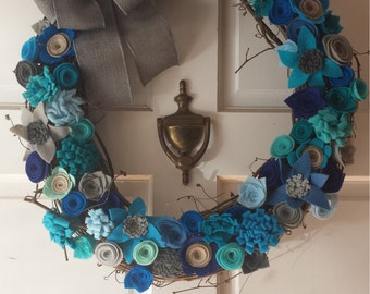 Floral wreath, Flower wreath, Grapevine Wreath, Year Round wreath