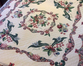 Quilt, hand stitched, twin, applique, machine embroidery, burgundy, green, blue