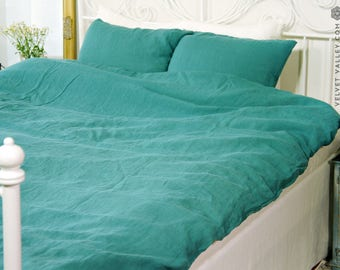 Linen teal SET of DUVET cover and PILLOW shams -linen teal bed set -Light turquoise full/double /queen/king size linen bed set