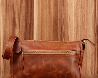 LECONI small shoulder bag clutch purse Leather Brown LE3051-wax