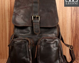 LECONI backpack leisure time backpack vintage leather backpack ladies mens leather dark brown LE1008-wax