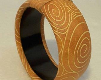 1980s RETRO Orange Leather Bound BANGLE BRACELET with Swirl Design