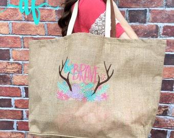 Be Brave Bag, Jute Tote Bag, MudPie Brand, Floral Bag,Spring, Overnight Bag, Applique, Monogram
