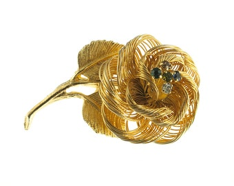 Gold Plated Wire Rose Brooch