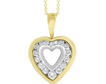 0.50 Ct. Natural Diamond Heart In Heart Love Pendant In Solid 14k White/Yellow Gold