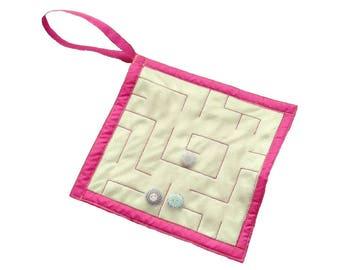 Fabric fiddle maze, dementia aid, fidget toy for autism alzheimer fidget toy, , hospital gift, fine motor skills, sensory toy for adults