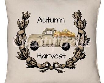 Vintage Autumn Harvest Pumpkin and Corn Truck Large Instant Digital Download Printable Graphic Transfer Image 0816