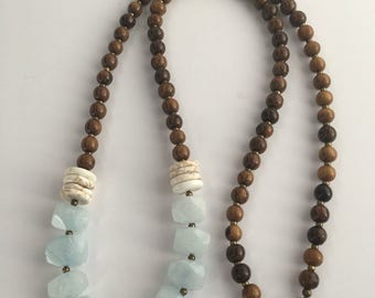 Blue Jade Nugget Necklace, Long Wood Bead Necklace, Long Boho Necklace, Jade Nugget Necklace, Jade Nugget/Wood Bead Necklace