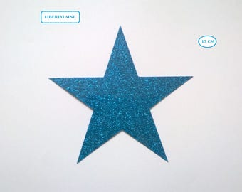 Applied fusible large flex turquoise star glitter