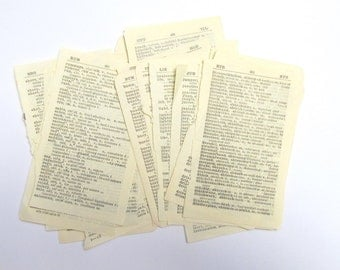Vintage small dictionary pages: pack of 25 sheets from various French, Germa, Italian books. Ephemera for craft, scrapbook, collage. PG141