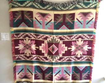 vintage pink and teal cotton southwest fringe blanket