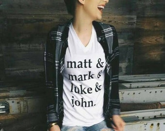 Plaid Matthew Mark Luke and John  women's tee