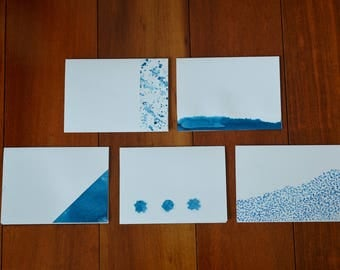 5 Blue Watercolor Cards