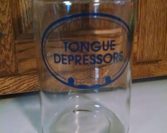 Vintage Grafco Apothecary Jar, With Lid, Medical, Dental Decor, Tongue Depressors,  Cotton Ball Jar, Free Shipping