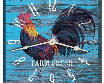Morning Rooster Teal Decorative Kitchen Wall Clock