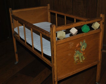 Vintage Wooden Doll Crib -Dolly Crib -c.1940,s -Wooden Doll Bed -Wooden Doll Crib -Fawn -Deer -Butterfly-Baby-Nursey-Dolly Crib-Dolly Bed