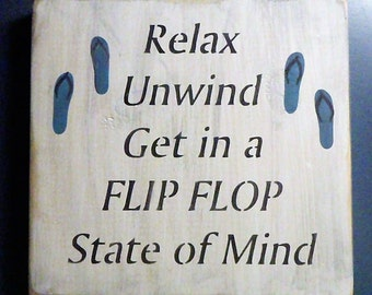 Flip Flop State of Mind, Summer Sign, Fun Sign, Primitive Sign, Flip Flops, Lake Sign, Ocean Sign, Wood Sign
