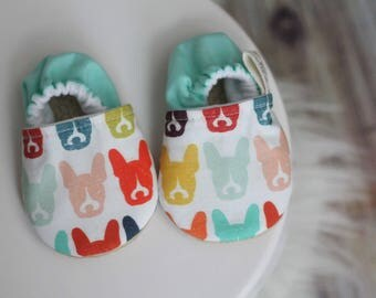 Dog Print Baby Shoe, Boston Baby Shoes, Baby Shoes, Dog Baby Shoes, Boston Terrier, Dog Baby Booties, Baby Boy Shoes, Baby Girl Shoes