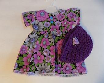 Purple Floral Print American Girl Doll Size Dress w/Crochet hat . #374