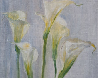 "Original Oil Painting Tender Calla Lilies Original Artwork Home Decor Oil on Canvas Floral 14""x16"""