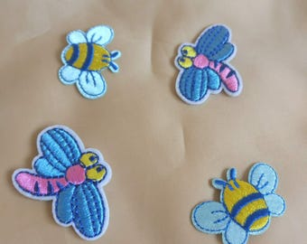 Wholesale bulk Lot   12pcs  cartoon  dragonfly bee   embroidered iron on patch