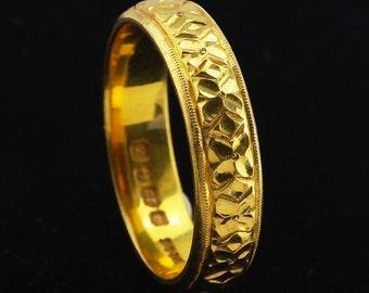 22K Gold Wedding Band Ring size US 7.75, UK P Vintage 1924