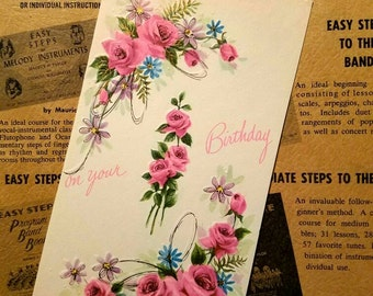 Vintage greeting card. 1950s special card for a special birthday. Vintage for her. Unused w/envelope.