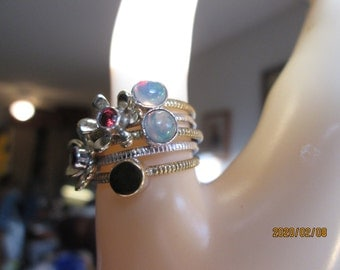 Handcrafted & Handpolished Two-Tone 925 Sterling Silver Natural Ethiopian Opal and Amp, Garnet Ring Size 8.5, Wt. 7.1  Grams