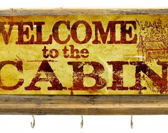 Key Hooks Welcome to the Cabin Metal Sign, Framed, Leash, Hall Organizer 20032-hook