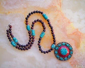 Tibetan Pendant Necklace,Brecciated Jasper,Stabilized Turquoise,Unisex Necklace,Tribal Necklace,Bohemian Jewelry,Ethnic Jewelry