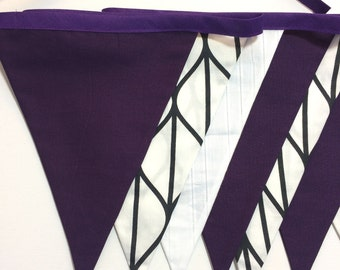 Purple, white and black fabric bunting with 9 fabric flags. Party banner. Birthday, Wedding, Photo Prop, Nursery Decor. Ready to ship